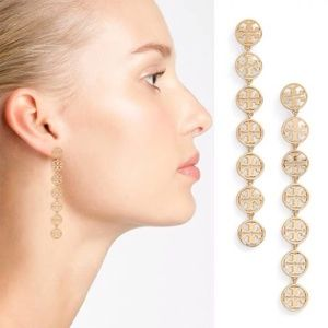 Tory Burch Gold Long Logo Linear Drop Earrings TB
